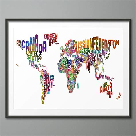 typography world map typography world map print by artpause