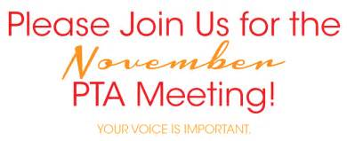 join us for the november pta meeting on wednesday nov 13