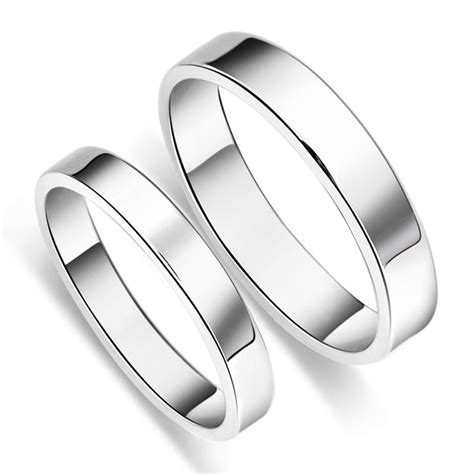 simple  sterling silver mens ladies couple promise