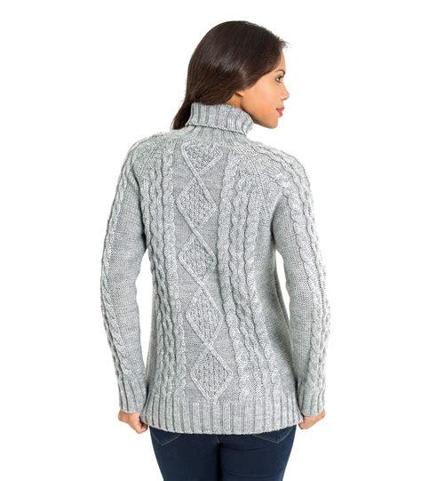 aran knit sweater woolovers womens wool aran polo neck sleeve knit