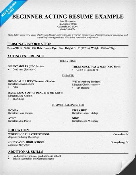 actor resume template free free beginner acting resume sle resumecompanion