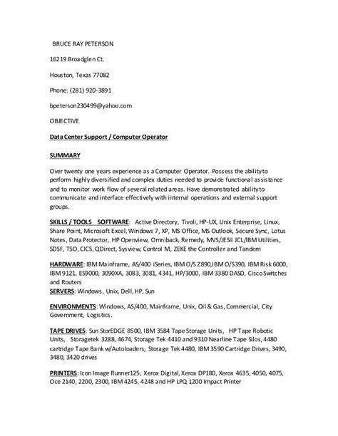 Data Center Operator Cover Letter by Data Center Support Computer Operator A