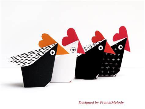 Paper Craft Kit - chicken decor 4 hens paper craft kit diy paper