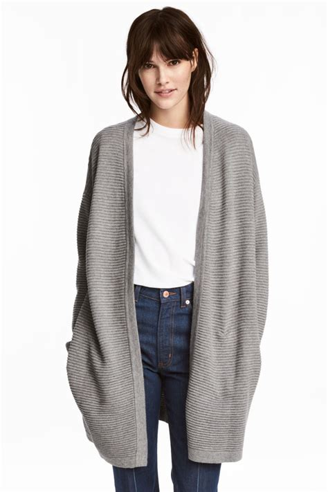 Cardigan Longs List Rib rib knit cardigan gray melange h m us