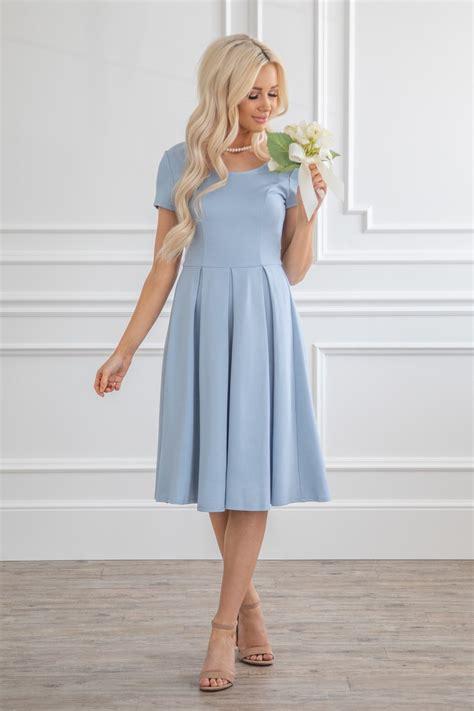 jen bryn modest semi formal bridesmaid dress  dusty blue