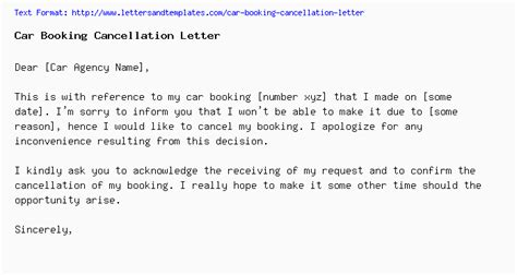 vehicle booking cancellation letter format car booking cancellation letter