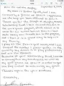 Scholarship Thank You Letter Typed Or Handwritten Letter Written By 16 Year Spieth To Family Who Helped Pay His High School Tuition