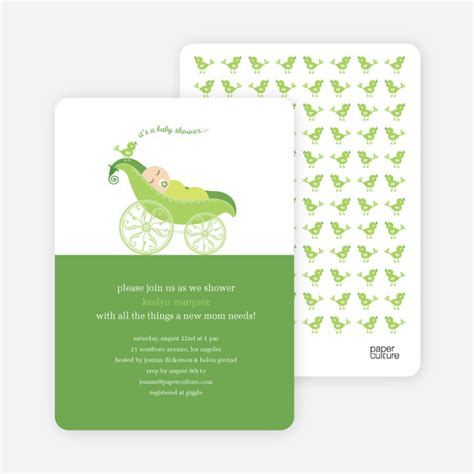 Pea In A Pod Baby Shower Invitations by Pea In Pod Baby Shower Invitation Paper Culture