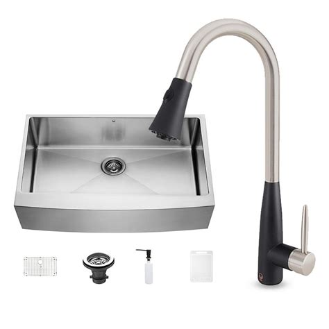 black kitchen sink faucets vigo all in one farmhouse stainless steel 36 in 0 kitchen sink and milburn stainless steel
