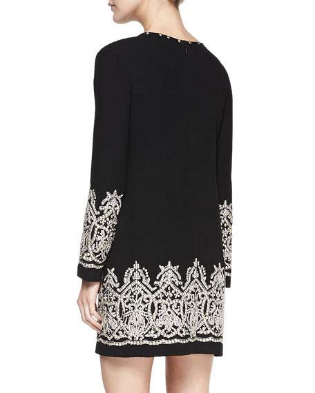 Sleeve Patterned Dress yoana baraschi sleeve beaded patterned dress