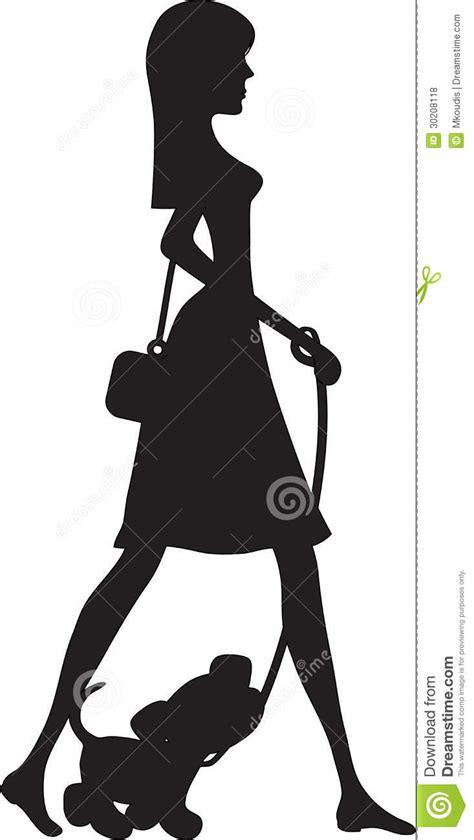imagenes para perfil elegantes senhora walking filhote de cachorro silhueta fotos de