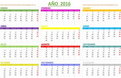 As Calendario Hojas Excel Facil Calendario 2016 Gratis