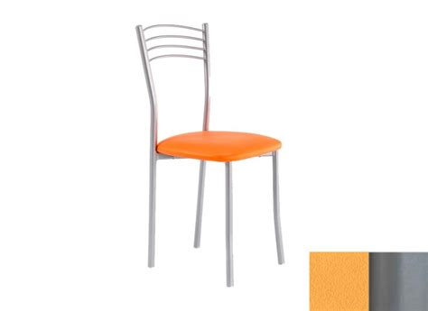 chaise 233 lia assise en vinyltech orange pieds argent