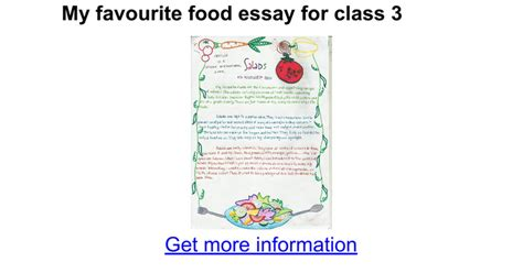 My Favorite Restaurant Essay by My Favourite Food Essay For Class 3 Docs