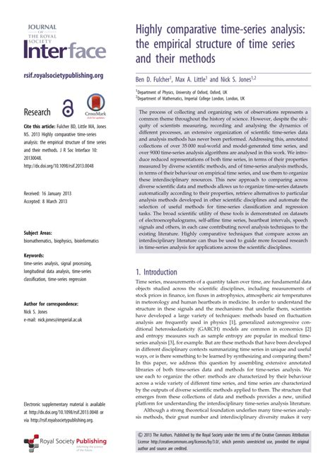 research paper on time series analysis highly comparative time series analysis pdf