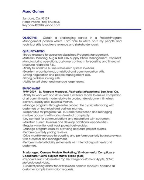 Project Manager Resume Objective by 223 Best Images About Riez Sle Resumes On