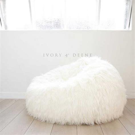 Big Fluffy Bean Bag Chairs Fur Bean Bag Silver Grey Ivory Deene Ivory
