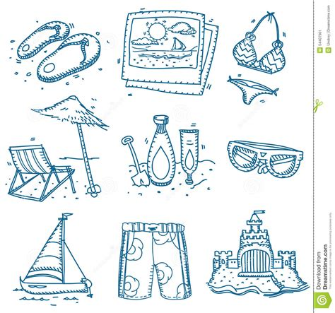 doodle draw icon pack doodle sketch travel icons summer stock photo