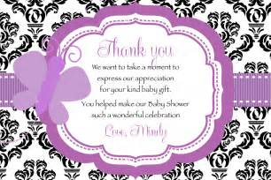 thank you phrases for baby shower damask purple butterfly baby shower thank you card printable