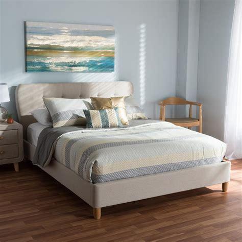 full size upholstered bed baxton studio laureo mid century beige fabric upholstered
