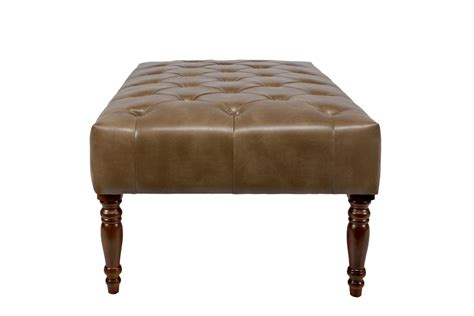 tufted cocktail brown leather ottoman at gardner white