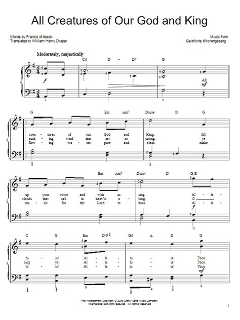 all creatures of our god and king by amy webb satb all creatures of our god and king sheet music by francis
