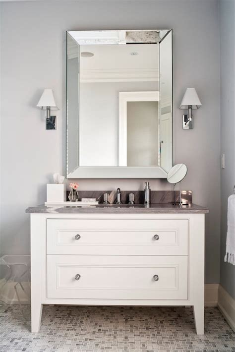 Beveled Bathroom Vanity Mirror Grey And White Bathroom Contemporary Bathroom Worts Design