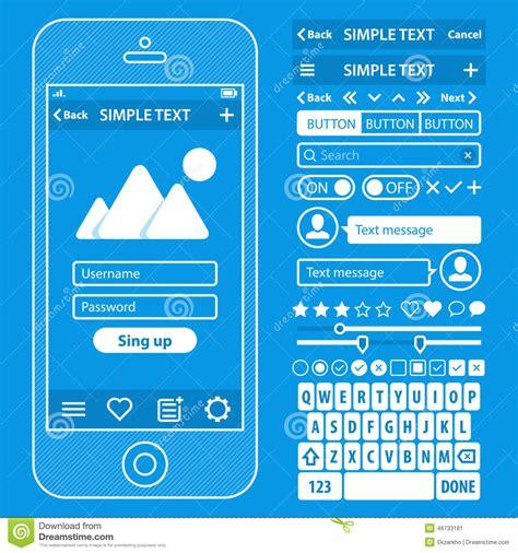 blueprint app ui elements blueprint design vector kit in trendy stock vector image 46733181