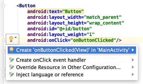 android studio onclick tutorial tools attributes reference android studio android