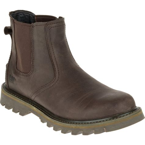 cat mens stoic brown mens leather slip on boot