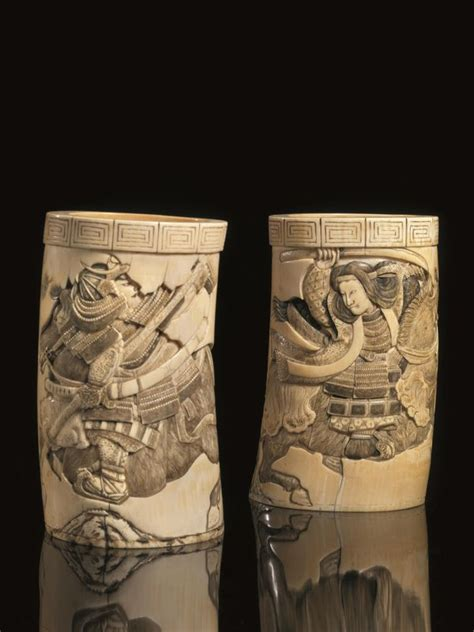 vasi egizi due vasi porta pennelli giappone sec xix in avorio