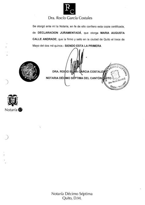 declarcion juramentada 2015 declaracion juramentada 2015 maria augusta calle