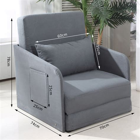 cushion chair bed homcom faux suede single sofa bed w pillow grey aosom co uk