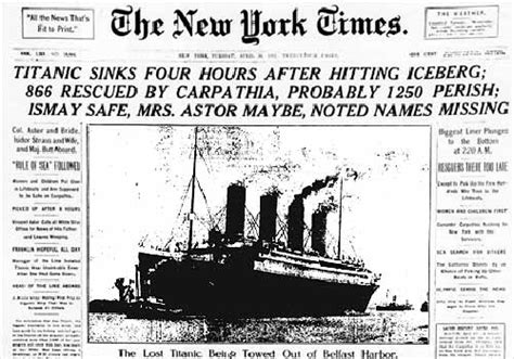 Titanic Sinks Newspaper by Whiggish Trends In Titanic Newspaper Headlines Titanicsinks