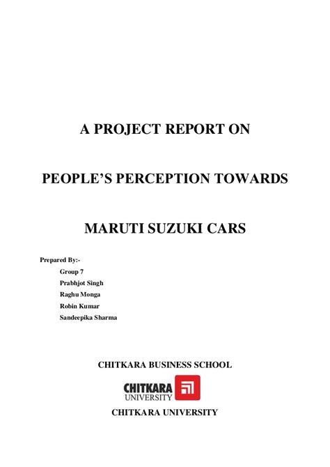 Maruti Suzuki Mba Project by S Perception Toward Maruti Suzuki Cars