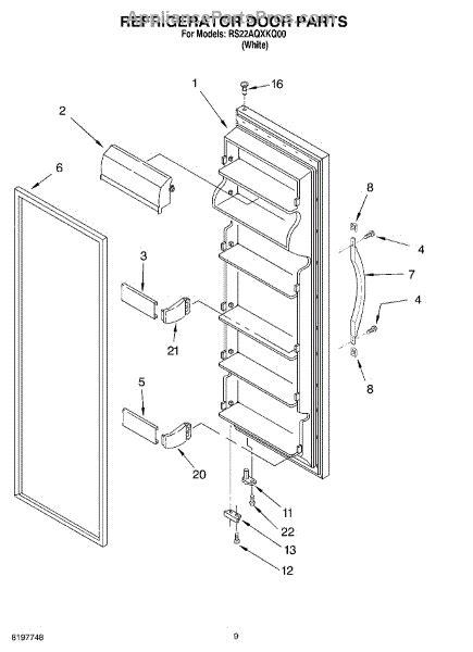 roper refrigerator parts diagram parts for roper rs22aqxkq00 refrigerator door parts