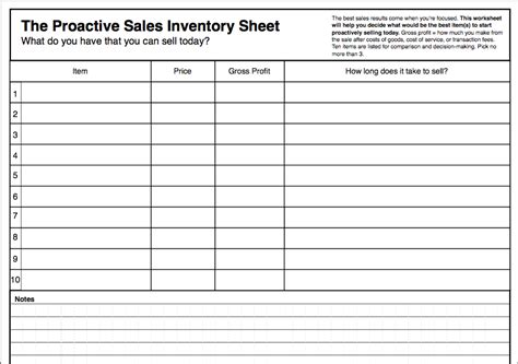 The Proactive Sales Inventory Sheet   Productive Flourishing