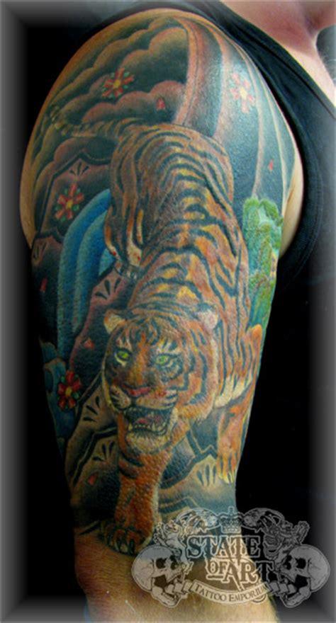 oriental mountain tattoo tiger tattoo sleeve