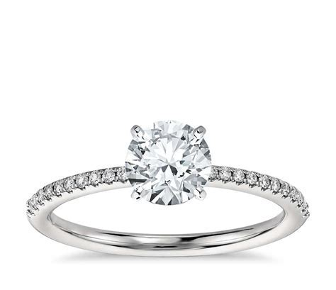 Petite Micropavé Diamond Engagement Ring in Platinum (1/10