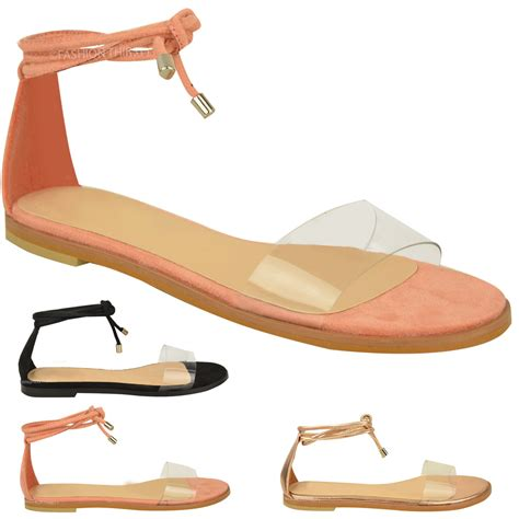 tie up sandals flat new womens flat ankle tie up sandals summer perspex