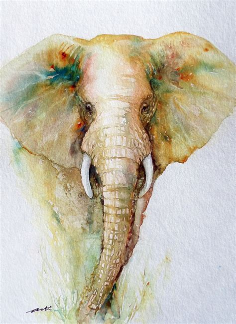 watercolor elephant tutorial elephant painting original watercolor art 9x12