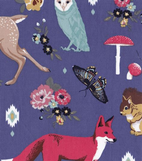 Home Decorating Fabric By The Yard Doodles Collection Fabric Majestic Cord Woodland Animals