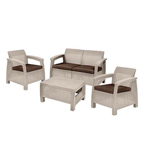 keter corfu rattan garden furniture set sand search