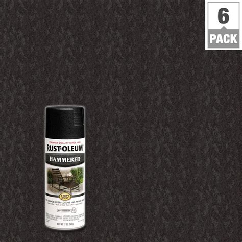 rust oleum stops rust 12 oz protective enamel hammered black spray paint 6 pack 7215830 the