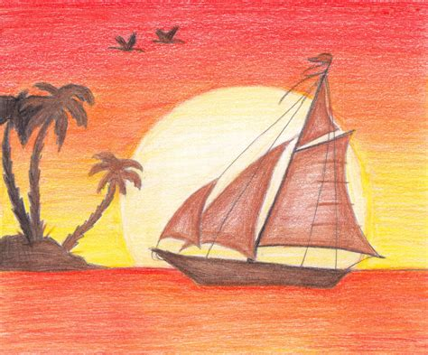 how to draw a sunset with colored pencils rainbow smudge sunset sail