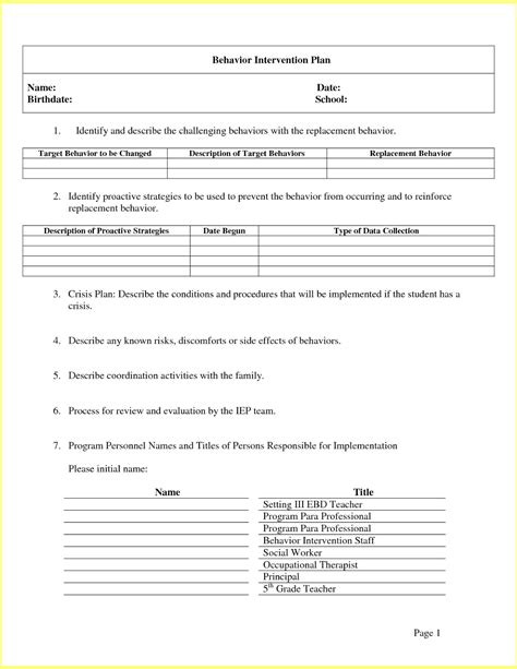 Behavior Modification Plan Template by Behavior Modification Plan Test Bank Behavior