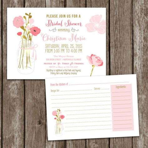 bridal shower recipe ideas sale digital printable jar bridal shower invitations recipe card bridal invite