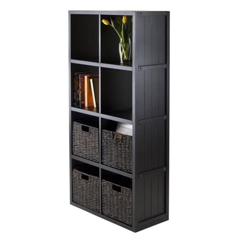 Wainscoting Shelf by 5pc 4x2 Wainscoting Shelf With 4 Husk Baskets In Black 20453