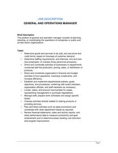 Operation Supervisor Description by General And Operations Manager Description Template Sle Form Biztree