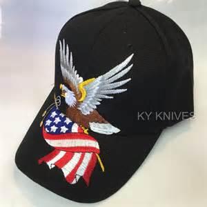black white baseball: bald eagle w american flag patriotic embroidered baseball cap hat ht